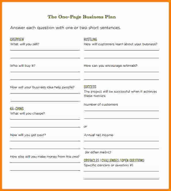1 Page Business Plan Template 1 Page Business Plan Template Elegant 10 E Page Business