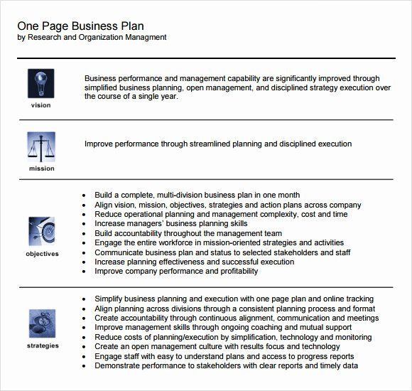 1 Page Business Plan Template 1 Page Business Plan Template Unique E Page Business Plan