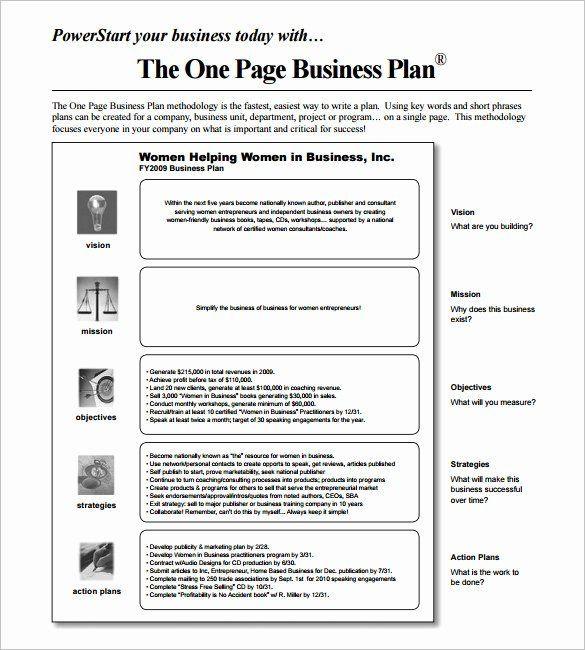 1 Page Marketing Plan Template 1 Page Business Plan Template Lovely 14 Business Action Plan