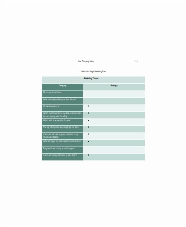 1 Page Marketing Plan Template 1 Page Marketing Plan Template Awesome E Page Marketing