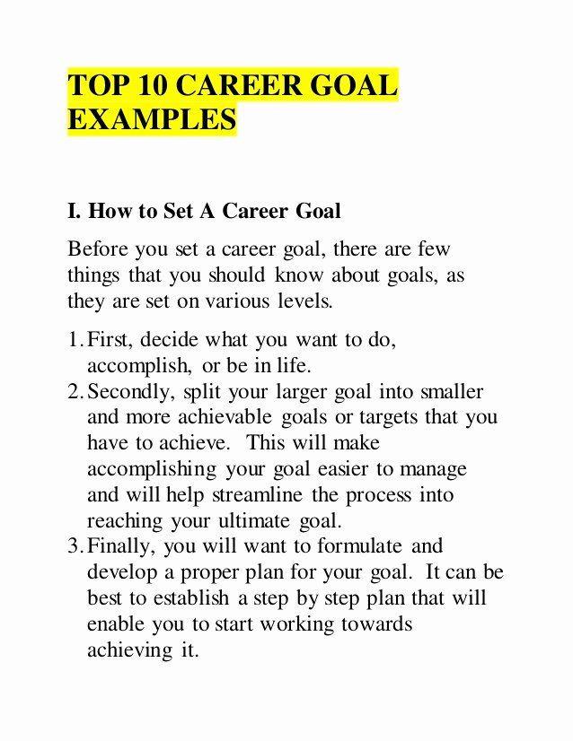 10 Year Career Plan Template 10 Year Career Plan Template New top 10 Career Goal Examples