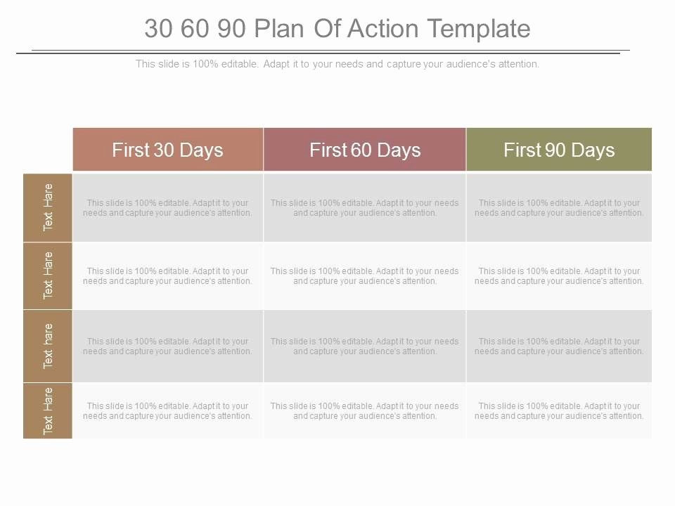 100 Day Plan Template Powerpoint 100 Day Plan Template Best 30 60 90 Plan Action Template