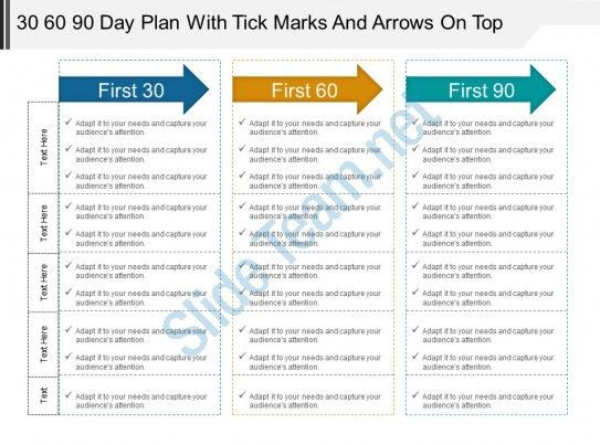 100 Day Plan Template Powerpoint 30 60 90 Day Plan with Tick Marks and Arrows On top