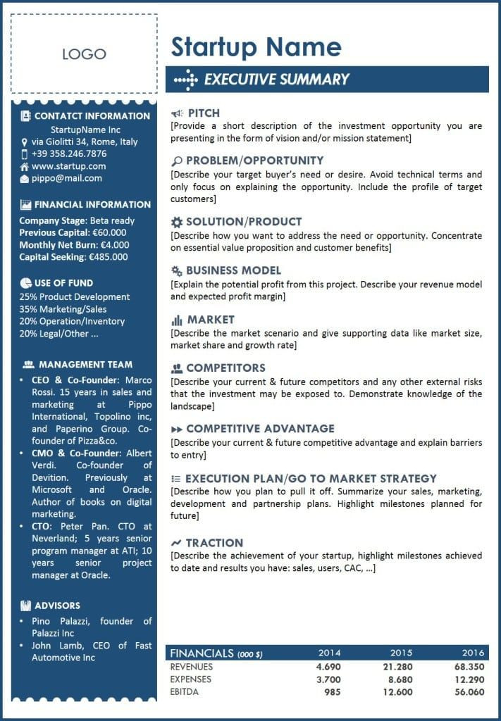 2 Page Business Plan Template Executive Summary Template 2