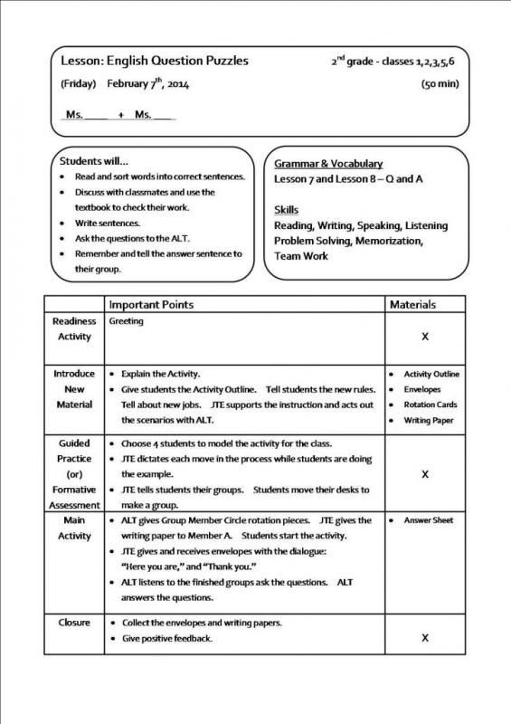 2nd Grade Lesson Plan Template Sample Lesson Plans Lesson Plan Sample