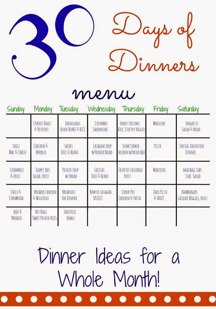 30 Day Meal Plan Template 30 Days Of Dinners Another Month Of Meal Planning the