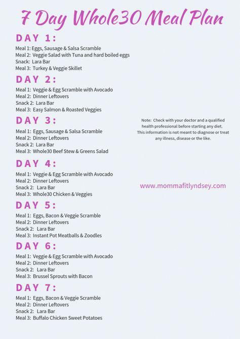 30 Day Meal Plan Template Pin On whole 30 Recipes
