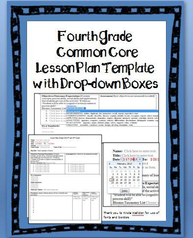 4th Grade Lesson Plan Template 4th Grade Mon Core Lesson Plan Template with Drop Down