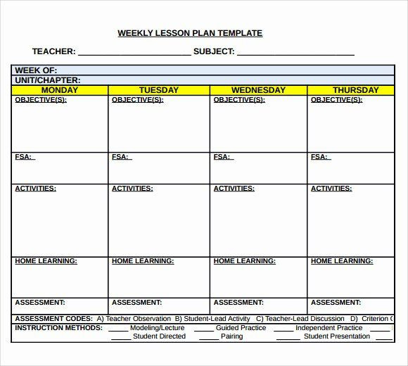 5 Day Lesson Plan Template Weekly Lesson Plan Template Doc Awesome Sample Middle School