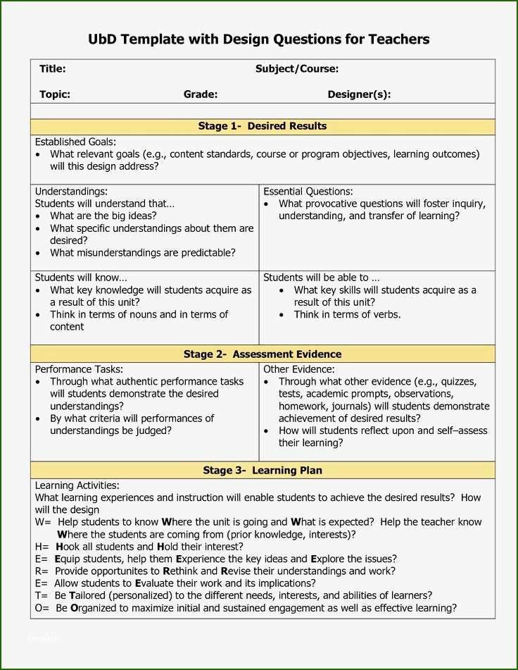 5 Step Lesson Plan Template Exemplary Ubd Lesson Plan Template 2020 In 2020