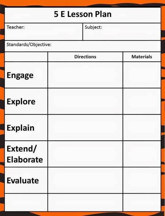 5 Step Lesson Plan Template the 5e Model Our New Lesson Plans