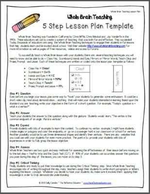 5 Step Lesson Plan Template whole Brain Teaching Lesson Plan Template From the