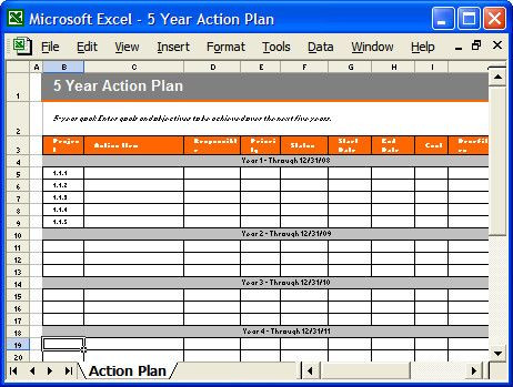 5 Year Plan Template Excel Five Year Plan Template Excel Fresh Action Plan Template Ms