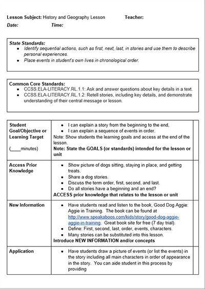 5e Model Lesson Plan Template Mon Core History Lessons Free Lesson Plan Template
