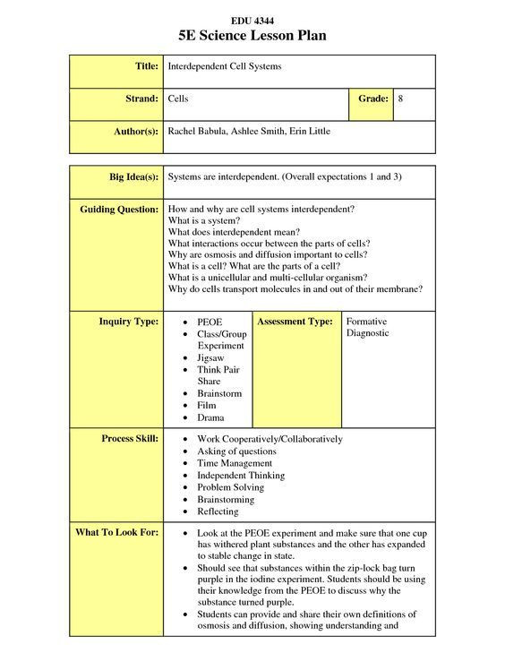 5e Science Lesson Plan Template Docstoc is Closed