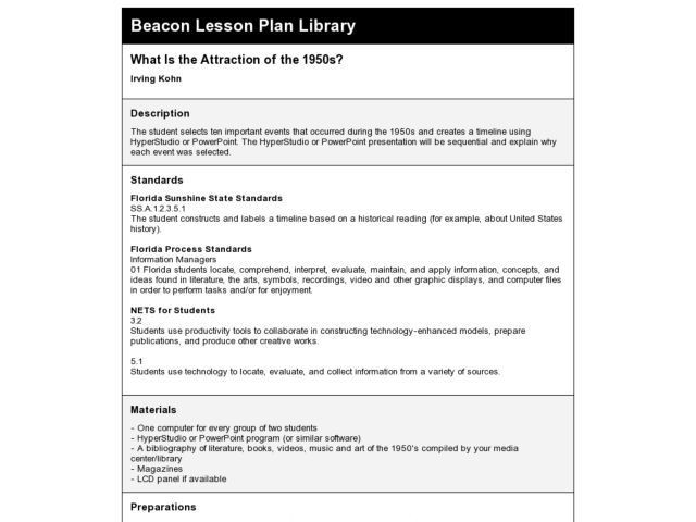 5th Grade Lesson Plan Template What is the attraction Of the 1950s 5th Grade Lesson Plan