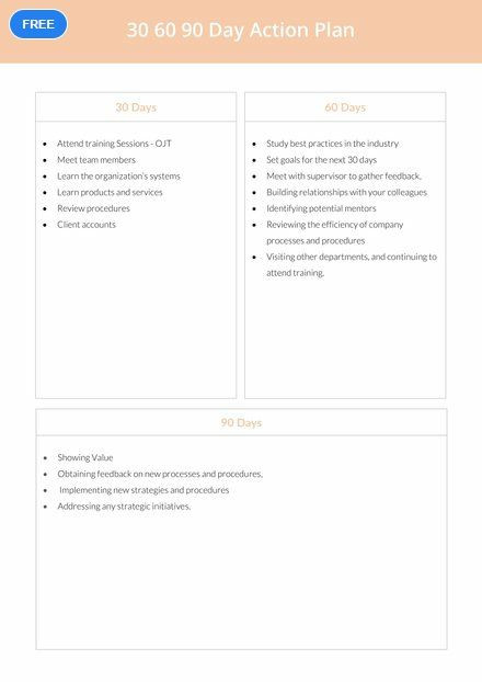 60 Day Action Plan Template Free 30 60 90 Day Action Plan Template Pdf