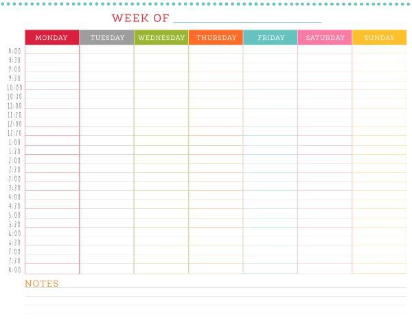 7 Day Planner Template Free Printable Weekly Schedule
