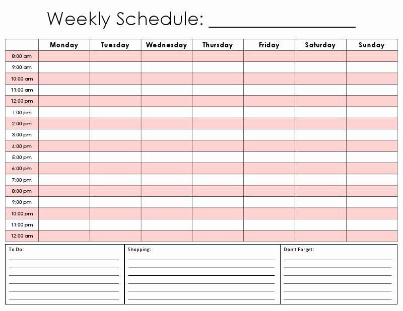 7 Day Planner Template Half Hour Schedule Template Beautiful 28 Half Hourly