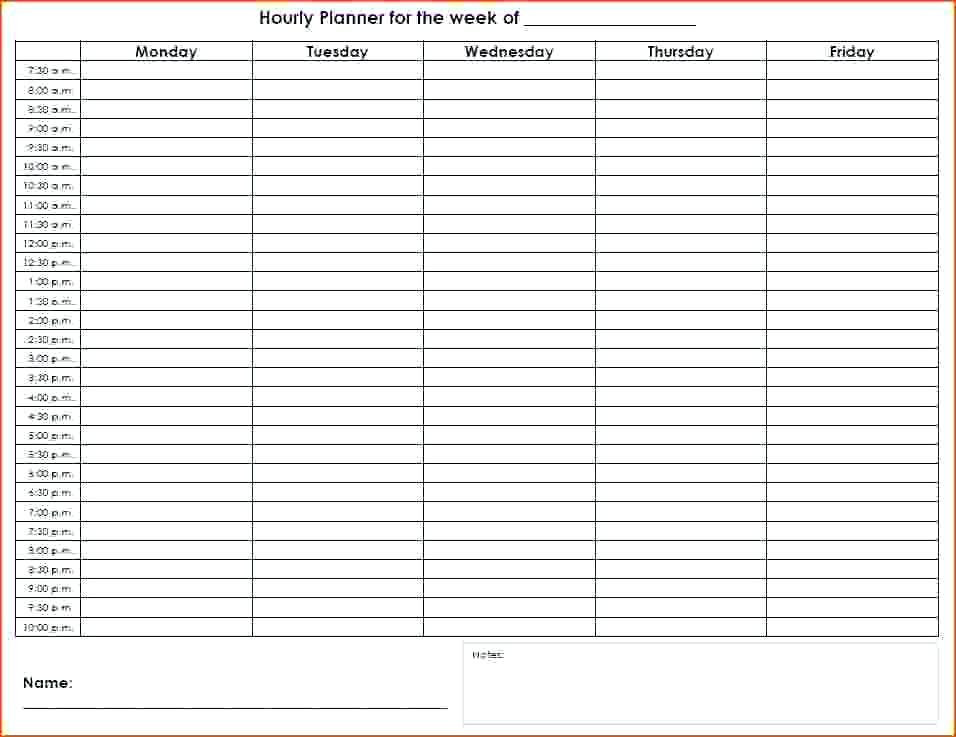 7 Day Weekly Planner Template Hourly Planner Template Excel Day In 2020