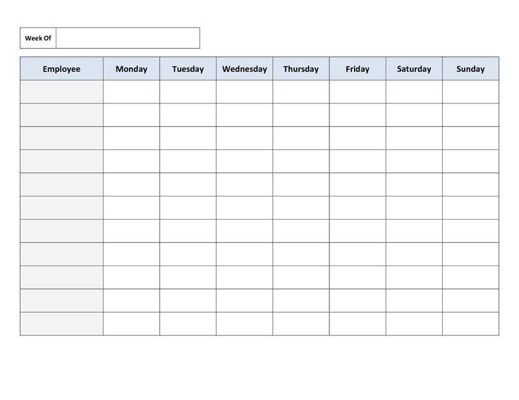 7 Day Weekly Planner Template Schedule Templates Work Templates Employee Schedule Template