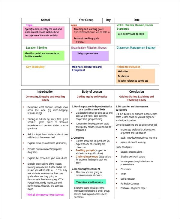 8 Step Lesson Plan Template Amp Pinterest In Action In 2020