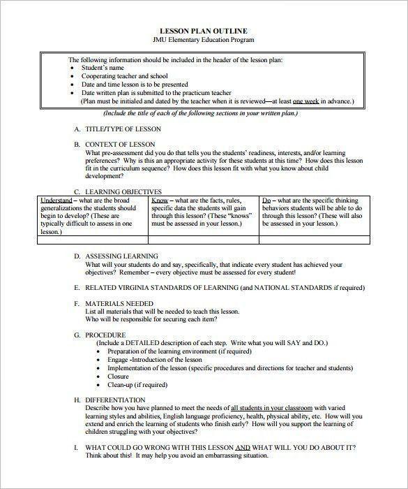 8 Step Lesson Plan Template Sample Lesson Plan Outline
