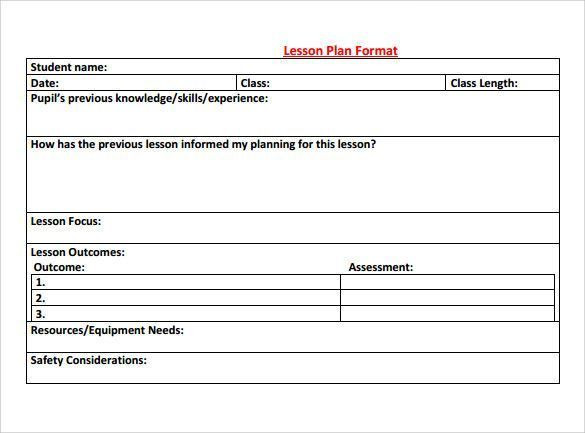 8 Step Lesson Plan Template Sample Physical Education Lesson Plan Template