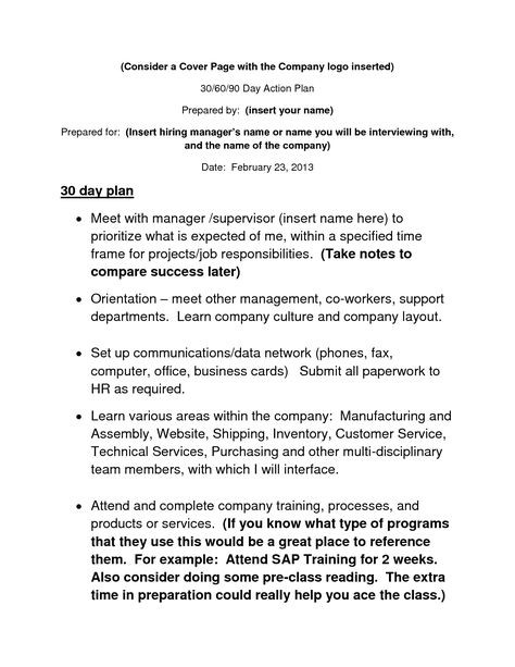 90 Day Business Plan Template 10 30 60 90 Day Plan Ideas