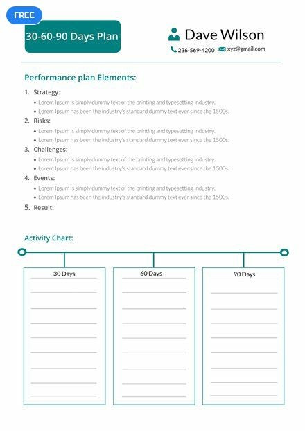 90 Day Strategic Plan Template Free 30 60 90 Days Plan Template