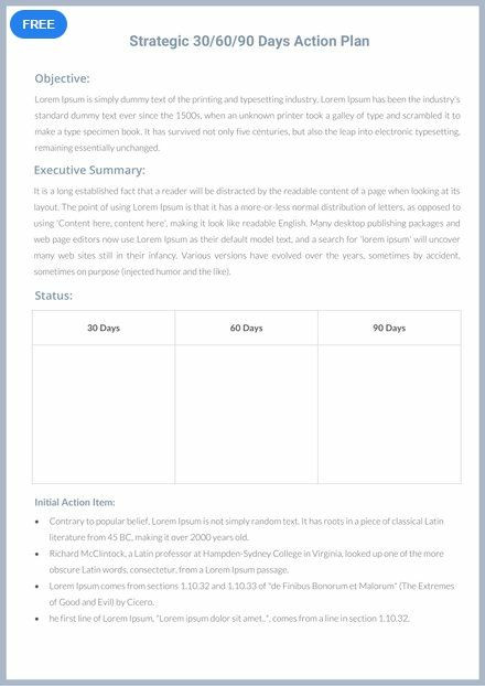 90 Days Action Plan Template Free 30 60 90 Days Action Plan Strategy Template Word Doc