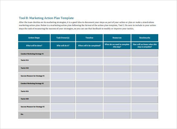 Action Planning Template Excel Marketing Action Plan Template Free In 2020