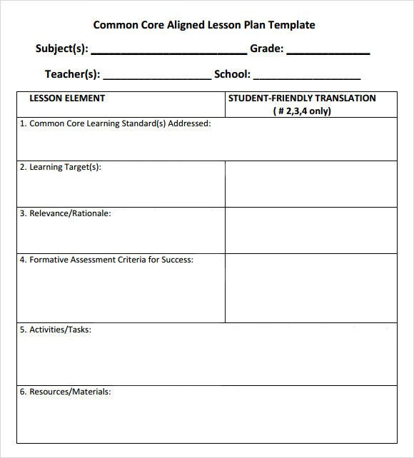 After School Lesson Plan Template Lesson Plan Template with Standards Luxury Mon Core Lesson