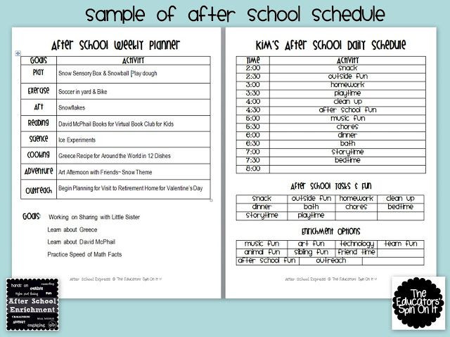 After School Lesson Plans Template after School Weekly Planner
