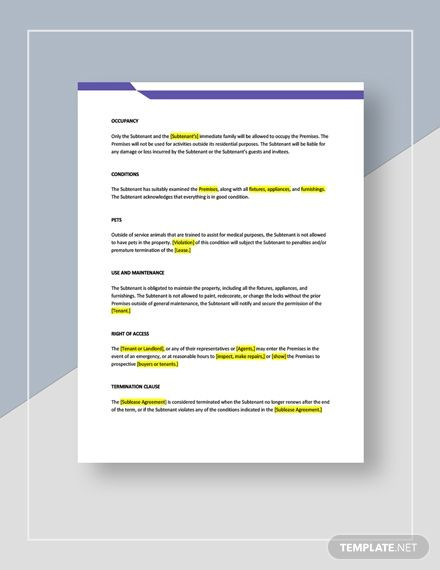 Apartment Marketing Plan Template Sublease Of An Apartment