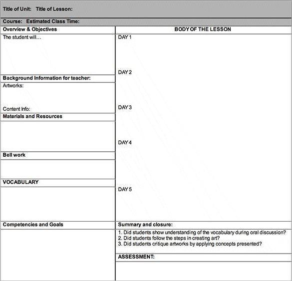 Art Lesson Plan Template Word Doc Pdf Free & Premium Templates