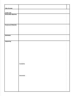 Art Lesson Plans Template Sample Art Lesson Plan Sheet