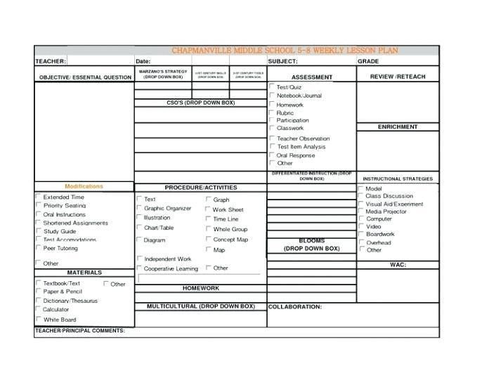Art Teacher Lesson Plan Template Marzano Lesson Plan Template Pdf Unique Lesson Plan Template