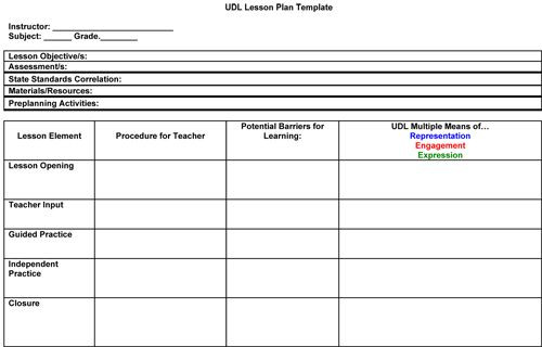 Art Teacher Lesson Plan Template Udl Lesson Plan Template Google Search