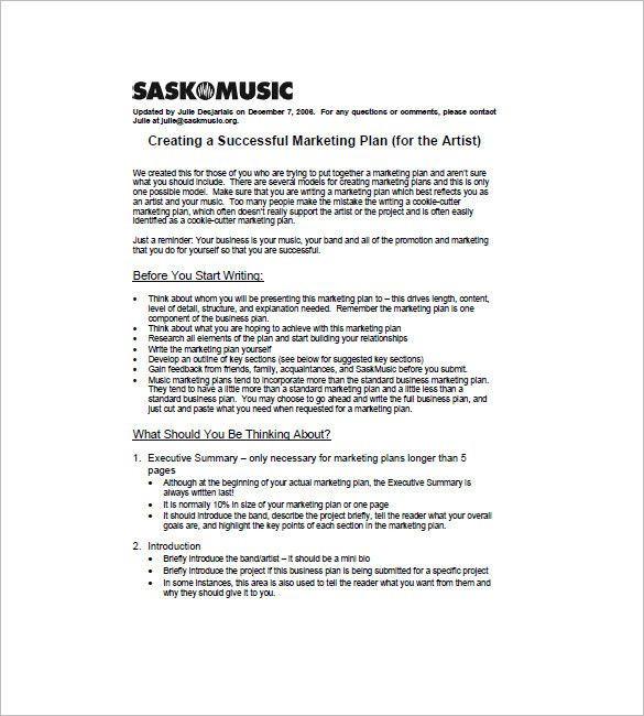 Artist Business Plan Template Artist Business Plan Template Luxury 15 Music Marketing Plan