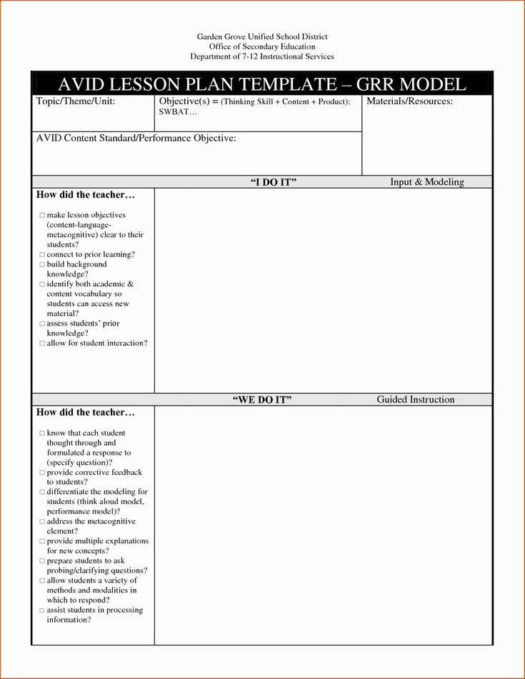 Avid Lesson Plan Template Pin On Customize Lesson Plan Template Printables