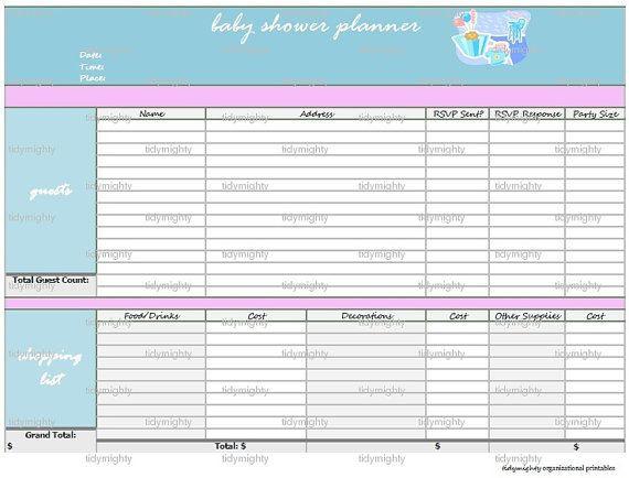 Baby Shower Planning Checklist Template Baby Shower Planner organizer Printable Pdf Instant