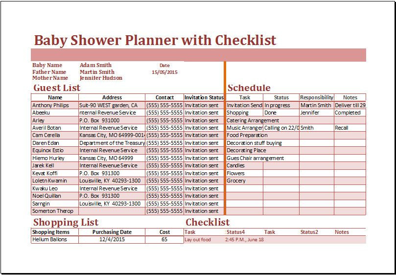 Baby Shower Planning Checklist Template Baby Shower Planning Checklist Excel Baby Shower Planner
