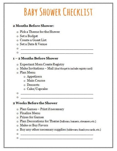 Baby Shower Planning Checklist Template Free Printable Baby Shower Games