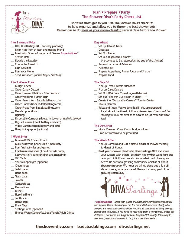 Baby Shower Planning Checklist Template Party Planning Checklist for Baby Showers Bridal Showers