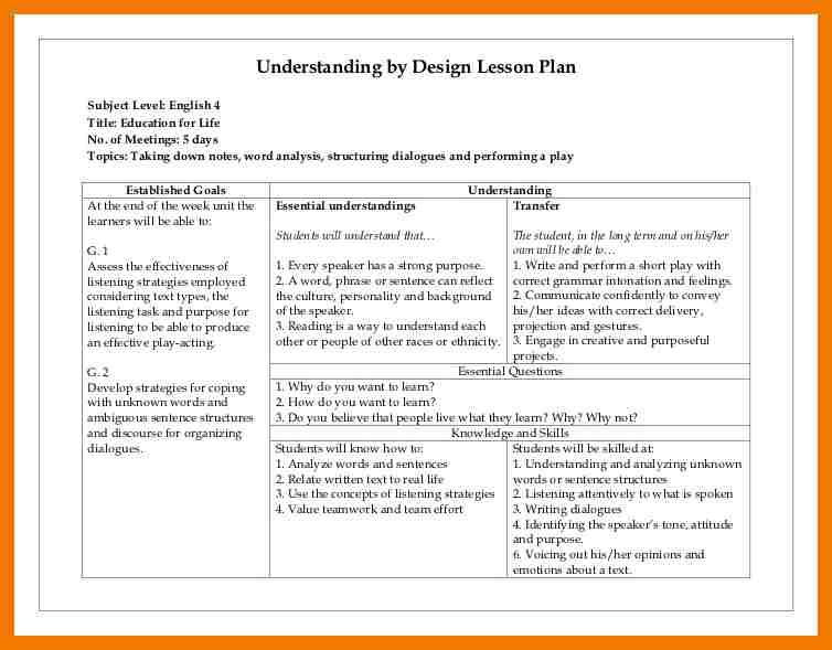 Backwards Design Lesson Plan Template 5 Backwards Design Lesson Plan Template