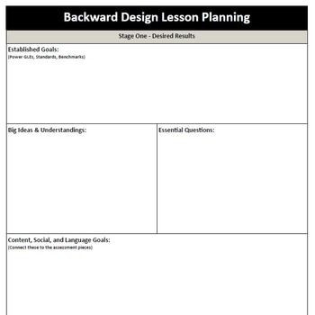 Backwards Design Lesson Plan Template Backward Design Ubd Lesson Plan Pdf Template