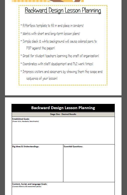 Backwards Lesson Planning Template Backward Design Lesson Plan Template