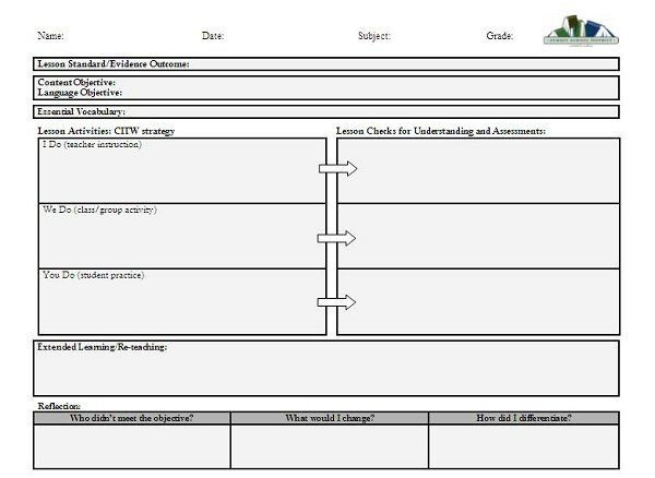 Backwards Lesson Planning Template Curriculum and Instruction Lesson Plan Template