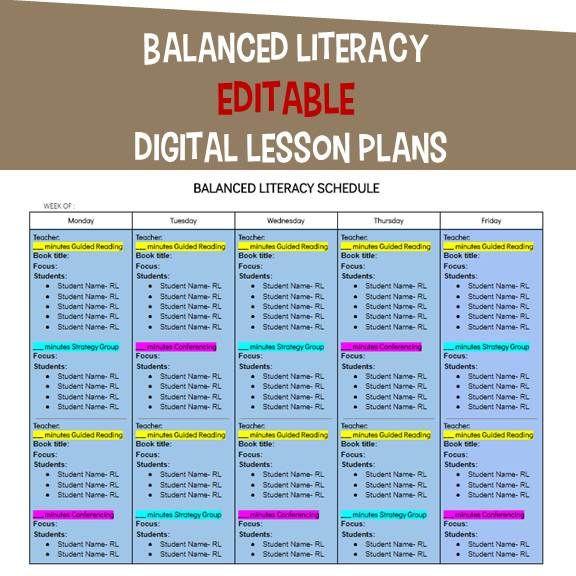 Balanced Literacy Lesson Plan Template Balanced Literacy Editable Digital Lesson Plans